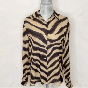 Lauren Ralph Lauren 100% Silk Blouse Zebra Pattern
